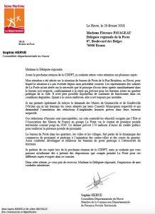 Projet de réduction de la présence postale en région havraise : Sophie Hervé réagit