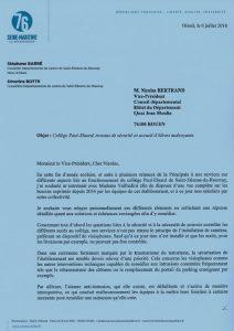 Collège Paul-Eluard, travaux de sécurité et accueil d'élèves malvoyants, Séverine Botte intervient