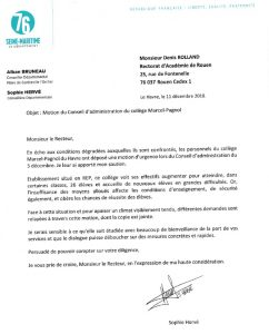 Interventions en faveur des conditions d'enseignement au collège Marcel-Pagnol du Havre