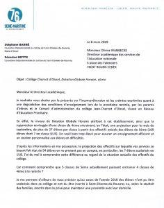 Alerte sur les conditions d'enseignement prévues à la rentrée au collège Charcot d'Oissel