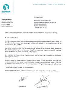 Collège Marcel-Pagnol du Havre : personnels en grève pour dénoncer le manque de moyens. Nous alertons la direction de l'Education Nationale